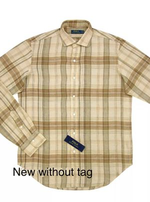Polo Ralph Lauren Brown Linen Casual Plaid Button Down Shirt Size M for Sale in Falls Church, VA