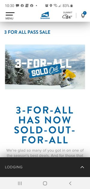 Snowshoe mountain 3 day lift tickets (2) for Sale in Summerfield, NC