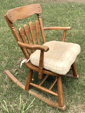 Vintage Antique Maple Wood Country Farmhouse Bar Rocking Rocker Chair With Cushion Patio Deck Porch Cabin Shed Furniture for Sale in Chapel Hill, NC