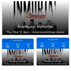 Aventura on March 12 at American Airlines Arena for Sale in Fort Lauderdale, FL
