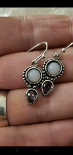 Handmade.925 sterling silver moonstone amethyst earrings NEW for Sale in Round Rock, TX