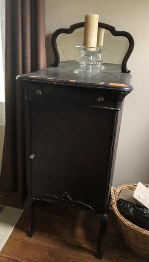 Music Cabinet or Collector File, 1900 Antique, Beveled Mirror for Sale in Mount Vernon, OH