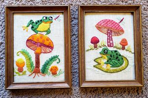 Vintage Embroidered Frog Pictures for Sale in East Wenatchee, WA