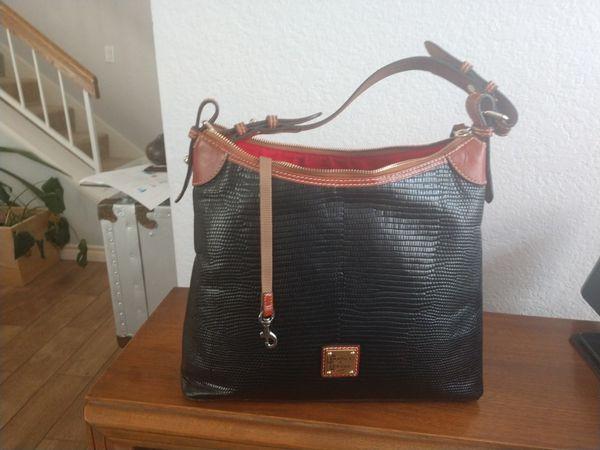 Dooney & Bourke lizard-embossed leather hobo bag