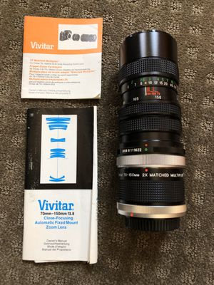 Vivitar 70-150mm F3.8 Close Focusing Zoom with 2x Matched Multiplier for Sale in Upland, CA