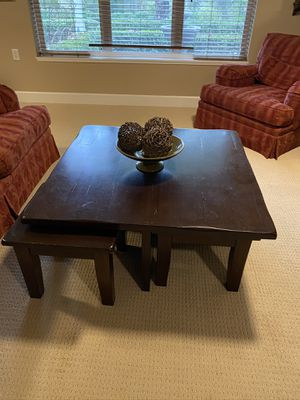 Pottery Barn square coffee table with 4 stools for Sale in Beaverton, OR