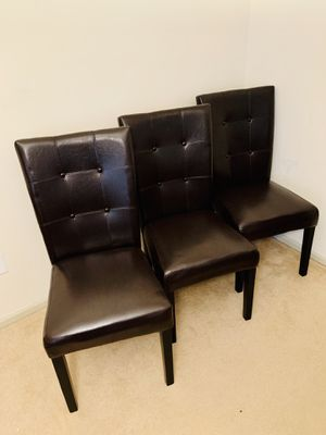 Set of 3 Ashley Furniture Leather Dining Room Chairs for Sale in Springfield, VA