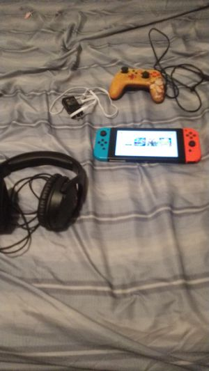 Nintendo switch Mario tennis aces fortnite Pokemon let's go Pikachu hyperx mic donkey Kong controller and the charger for Sale in San Antonio, TX