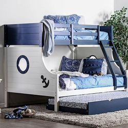 BLUE WHITE CAPTAINS NAUTICAL SHIP BOAT THEME TWIN OVER FULL SIZE BUNK BED TRUNDLE for Sale in Downey,  CA