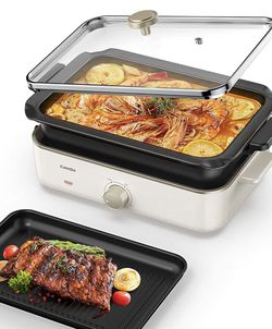 Electric Foldaway Skillet Grill Combo, Indoor BBQ Grill, Stew and Hotpot with Nonstick Pan, Precise Temperature Control and Tempered Glass Vented Lid for Sale in Orange,  CA