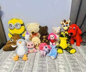 Random plush lot stuffed animals 15pc for Sale in Compton, CA