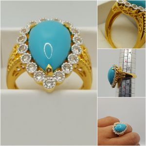 Precious 925 sterling silver, 10k Gold plated Ring, 7.00grs, Size7, Crystal and turquoise Stone. Nwot. for Sale in Covington, KY