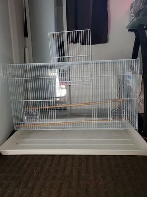 Bird Cage with perches and clear cups for Sale in Portland, OR
