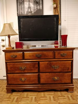 """Nice solid wood dresser/TV stand with big drawers in great condition, all drawers sliding smoothly, pet free smoke free. L50""""*W18""""*H32.5"""" for Sale in Annandale, VA"""