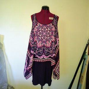 SLNY Size 12 Dress Shift Sleeveless Scoop Neck Purple Paisley for Sale in Merrillville, IN
