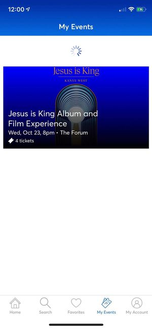 KANYE WEST JESUS IS KING EXPERIENCE 4 TICKETS SECTION 207 for Sale in Los Angeles, CA