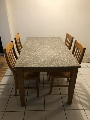 Real stone marble/wood table with chairs for Sale in Pompano Beach, FL