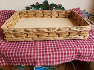 Vintage 233B Pyrex Wicker basket tray with leather handles for 9 x 13 glassware. for Sale in Cranston, RI