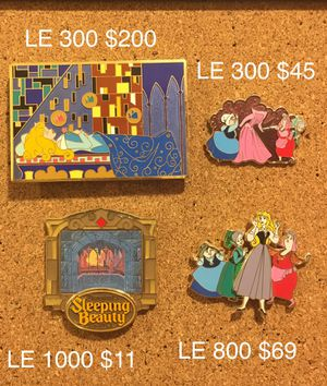 Sleeping Beauty Aurora Disney Pins Limited Edition HTF Rare Art Nouveau for Sale in Henderson, NV