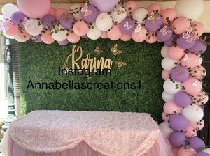 Babyshower decor, babyshower decoration, party decorations, balloons garland , butterflies theme decor, for Sale in Los Angeles, CA