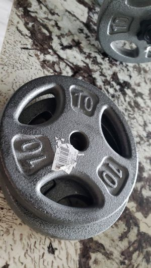 Two 10 lbs Weight Plates and Curl Bar $13 each for Sale in Miramar, FL