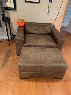 Brown Leather Chair and Ottoman for Sale in Tustin, CA