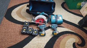 MAKITA 2 DRILL IMPACT ,SERCO SAW ,4 BATTERY, IN CHARGE, BAG for Sale in Allentown, PA