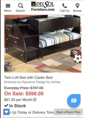 Twin loft bed/ bunk bed with rolling bed & drawers (no mattresses included) for Sale in Glendale, AZ
