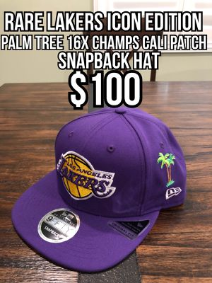 NBA new era Los Angeles Lakers Rare icon edition palm tree, 16x time trophy, California patch purple 9fifty SnapBack hat cap for Sale in Industry, CA