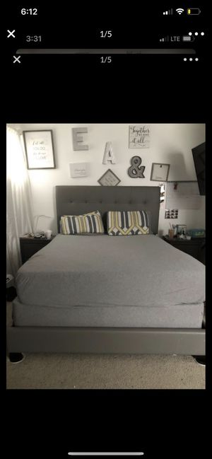 Queen Grey leather bed frame for Sale in Boston, MA