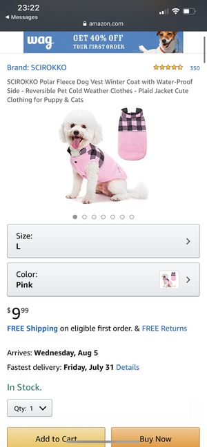 Polar Fleece Dog Winter Vest Size XL In Pink for Sale in Lancaster, PA