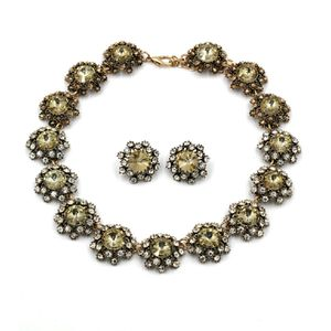 Elegant green crystal flower necklace earrings set for Sale in Redwood City, CA