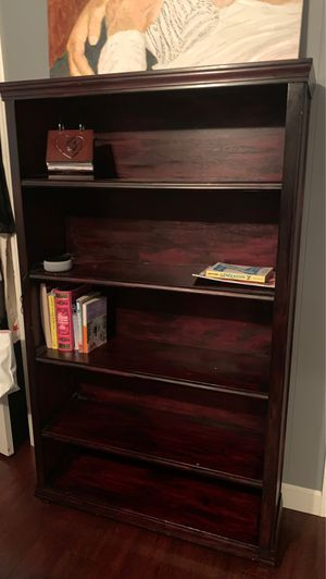 Bookcase with 5 shelves... beautiful handmade wood cherry stain for Sale in Modesto, CA