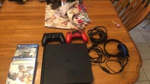 Playstation 4 Slim 1TB w/ 2 controllers, one headset and 2 games (Overwatch, and Destiny 2,) for Sale in Columbus, MN