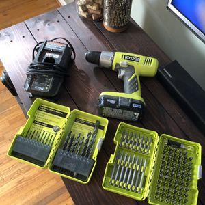 Ryobi ONE+ 18v 3/8in Drill — 18v Lithium Battery — Charging Dock — Drill Bits for Sale in Nashville, TN