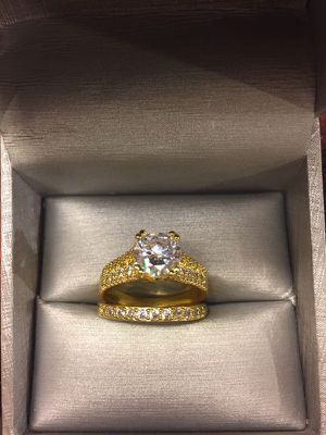 18K Gold plated Engagement/Wedding Ring set - Solitaire Diamond 💍 for Sale in San Jose, CA