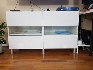 Storage combination unit with decorative glass doors and 2 shelves for Sale in Chicago, IL