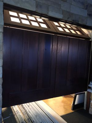 100% mahogany wood complete garage door used only in showroom for Sale in Queens, NY