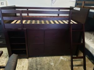 New twin size loft bed with bookcase and dresser for Sale in Hayward, CA