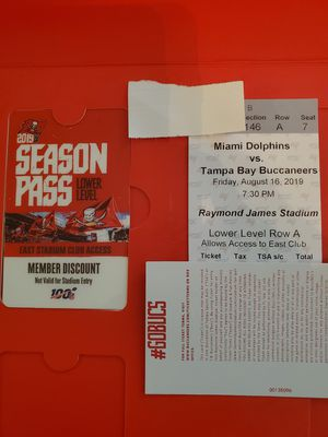 Bucs vs. Miami Row A with Club amenities! for Sale in Tampa, FL
