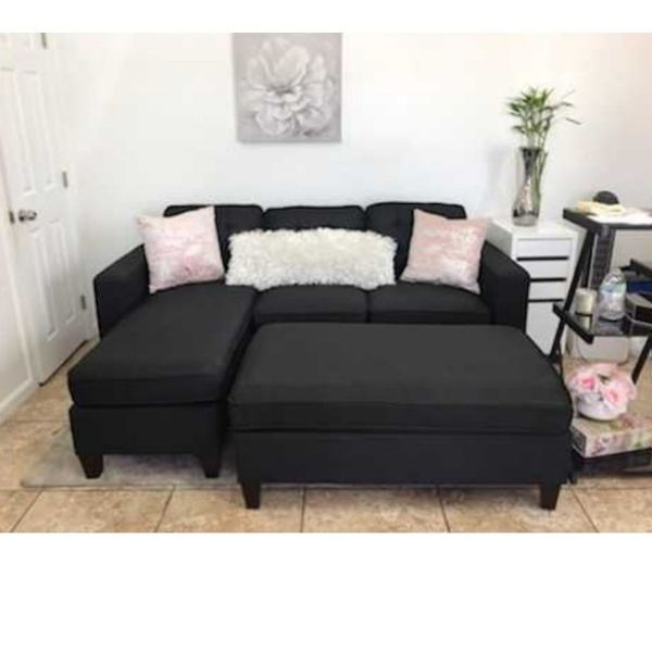 All New In Box Black Sectional Sofa W/ Ottoman