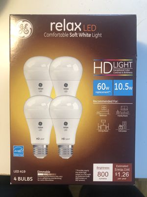 Three New Relax Light Bulbs $5 Soft White for Sale in Brookline, MA