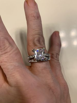 New 2 piece CZ 3.5 kt sterling silver wedding ring size 7 for Sale in Palatine, IL
