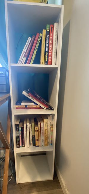 White 1x4 bookcase - VIRTUAL YARD SALE (9/27-9/29 only) for Sale in Glendale, CA