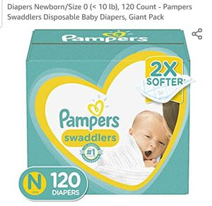Diapers Newborn/Size 0 (< 10 lb), 120 Count - Pampers Swaddlers Disposable Baby Diapers, Giant Pack for Sale in Las Vegas, NV