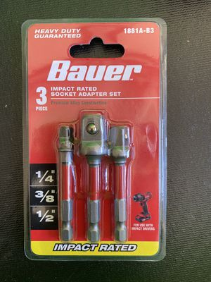 Bauer impact rated socket adapter set for Sale in Lindsay, CA