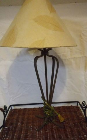 23 inch wrought iron lamp with beige shade for Sale in Thomasville, NC