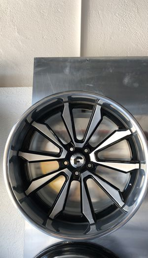 "20"" staggered Forgiato black machine with chrome lip rims only for Sale in Lynwood, CA"