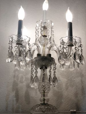 ANTIQUE LAUSITZER 5-LIGHT 24% LEAD CRYSTAL HAND-CUT CANDELABRA TABLE LAMP VTG for Sale in Sugar Land, TX