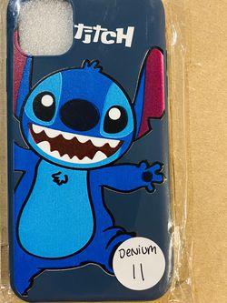 Brand new cool iphone 11 REGULAR 6.1 case cover rubber silicone DENIM BLUE Lilo And Stitch Hawaiian Disneyland disney love fundas girls womens pretty for Sale in San Bernardino,  CA